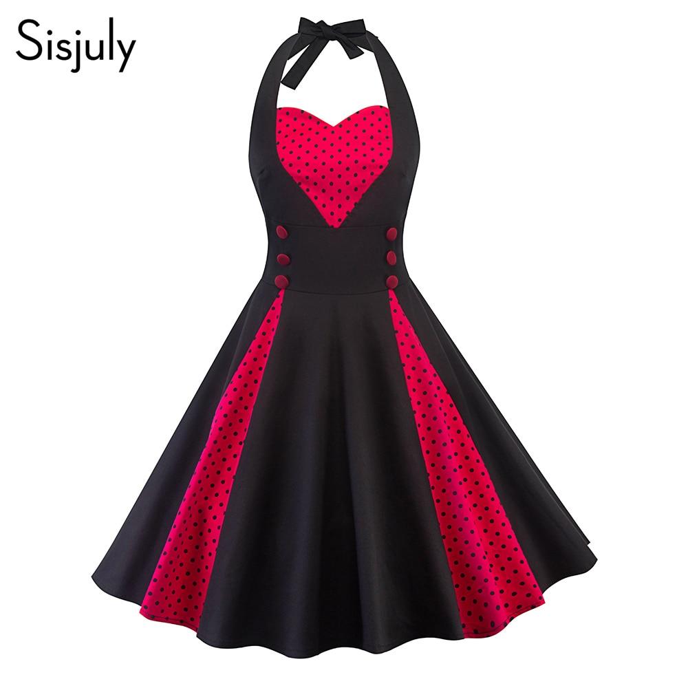 Sisjuly Women Dress Summer Vintage Trumpet Halter Pullover Polka Dots Color Block Patchwork Lace-Up Button Girl Party Dress