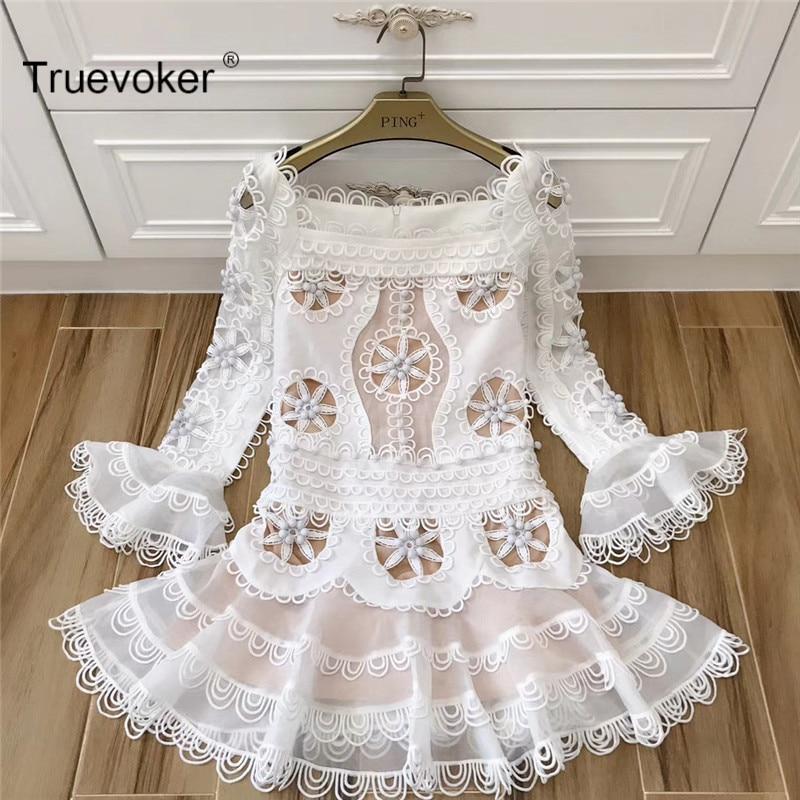 Truevoker New Spring Designer Dress Women's Long Sleeve Flower Square Collar Cute Princess Appliques Embroidery Cutout Dress