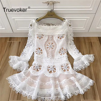 Truevoker New Spring Designer Dress Women's Long Sleeve Flower Square Collar Cute Princess Appliques Embroidery Cutout Dress