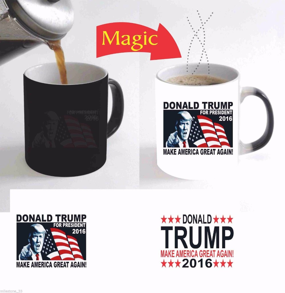 Donald Trump 2016 Make America Great Again heat changing color coffee mug heat transfer Ceramic Tea art porcelain mugs