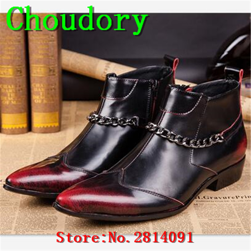 Choudory Leather Chukka Martin Ankle Boots Men Zipper Wedding Height Increasing Med Heels Lustrascarpe Colore Knight Retro Boots