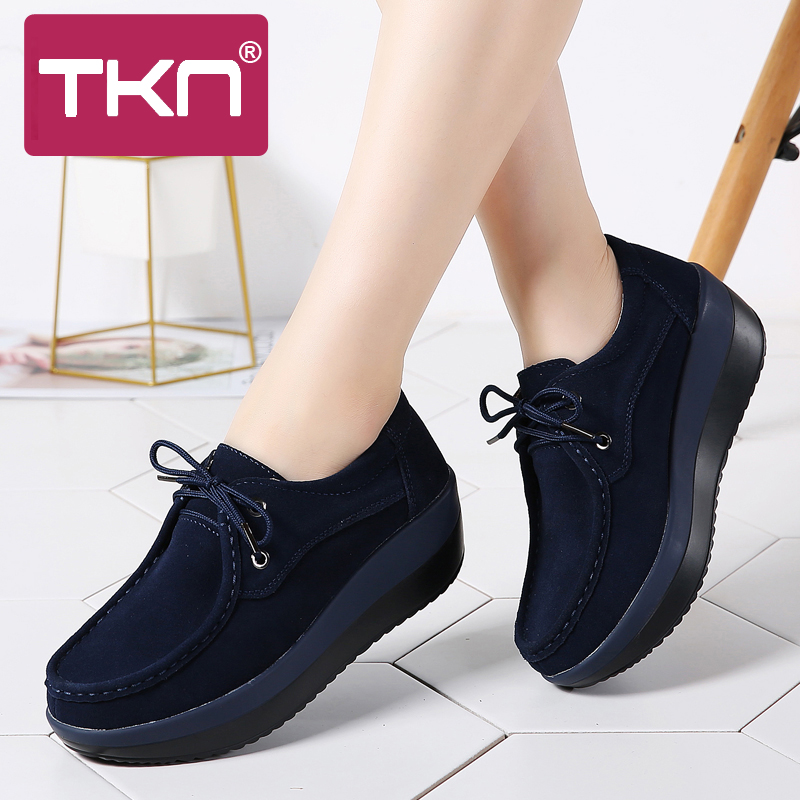 TKN 2019 Spring Women Sneakers Thick Soled High Platform Shoes   Leather     Suede   Ladies Casual Shoes Lace Up Flats Creepers 3235
