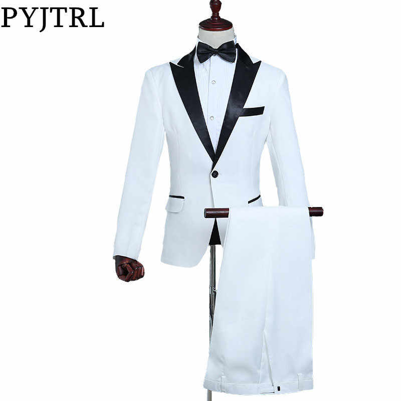 PYJTRL Mens Classic Black Lapel White Suits Stage Singer Costume Suit Men Latest Coat Pant Designs Slim Fit Tuxedos For Men