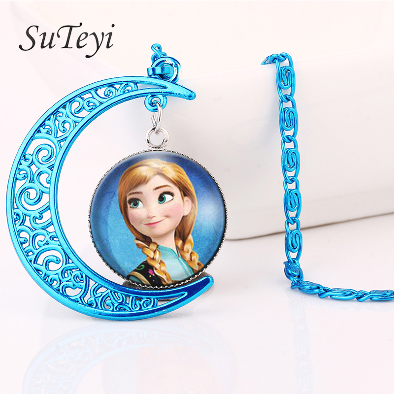 SUTEYI Hot! fashion color magic moon necklace elsa girls glass movie choker necklace summer style Movies Jewelry BL26