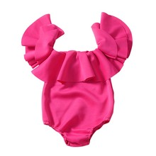 Ins Children Fashion Baby Girls Infants Crawling Clothes Solid Rose Red Short Sleeve Bodysuit Summer Toddler Cotton Outfits