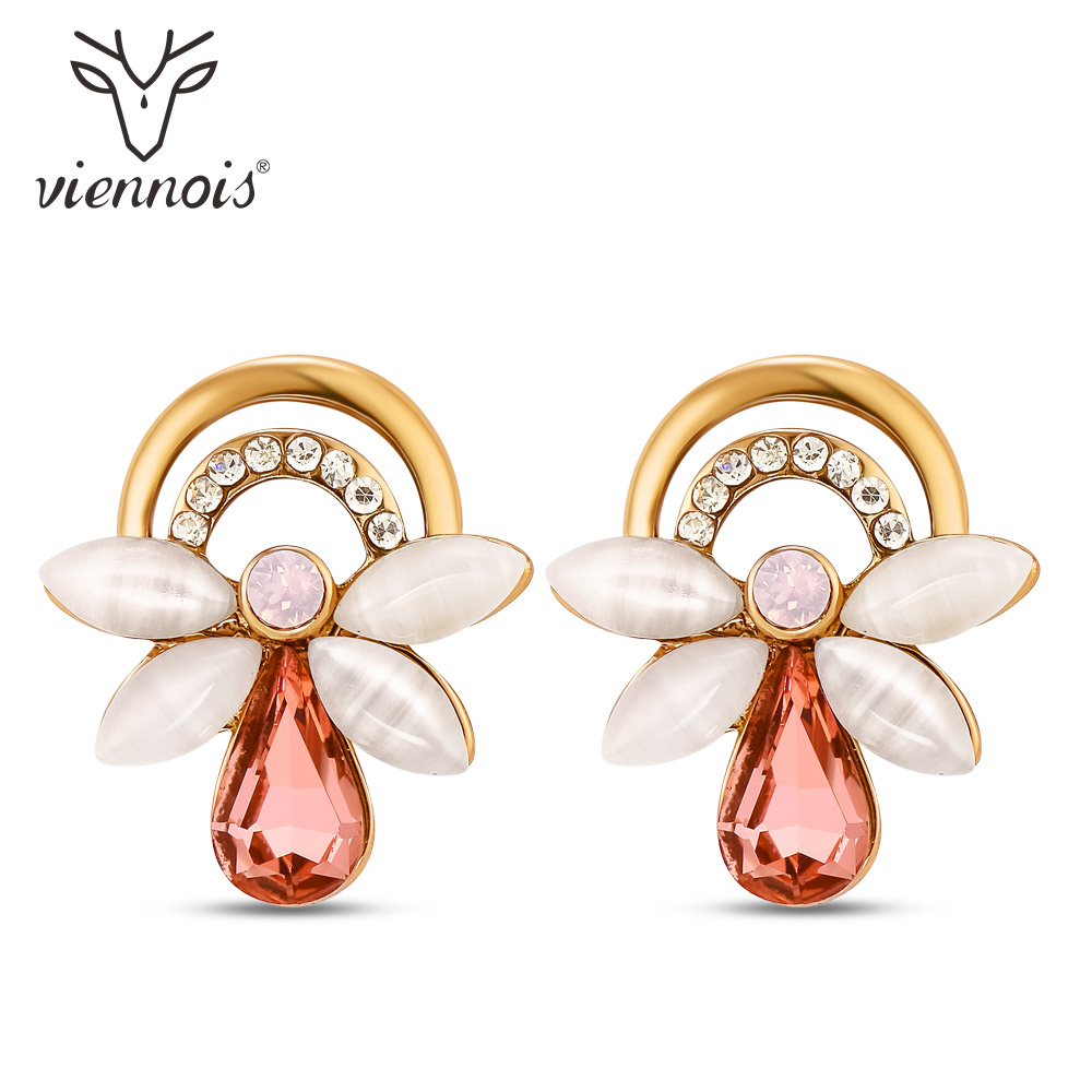 цена на Viennois Gold Color Alloy Water Drop Red Crystal Stud Earrings For Women Shell Pieces Rhinestone Earrings Fashion Jewelry