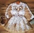 2016 Curto Prom Vestidos de Mangas Compridas Vestidos de Cocktail Champagen Lace Branco vestidos de festa Curto