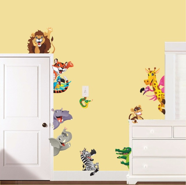 Cartoon Tiger Lion Dinosaur Wall Stickers Door Cabinet Switch Wall Decals  Decoration Kids Boys Girls Infant