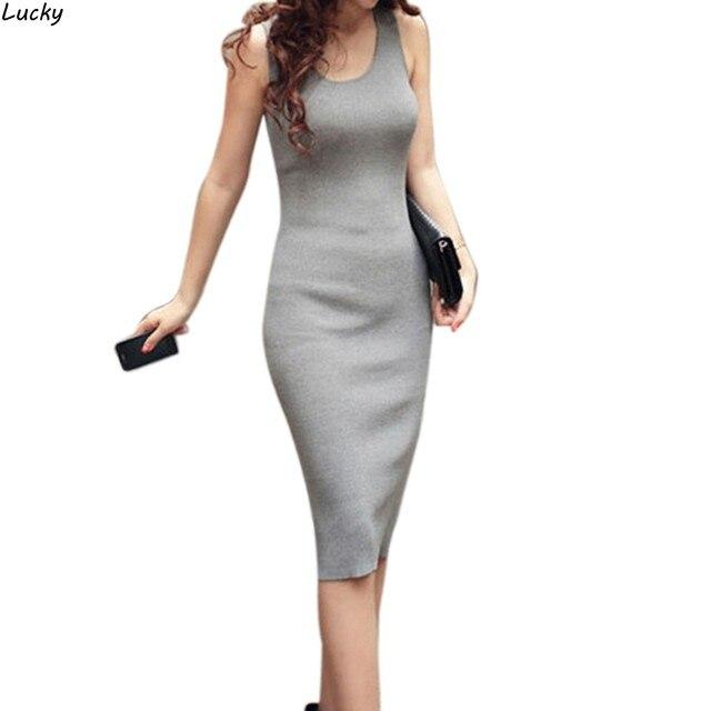 Fashion Sexy Women Solid Elegant Summer Dress Fashion Sleeveless ...