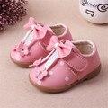 Chegada nova bowknot princesa do bebê do sexo feminino de couro shoes para o bebê meninas