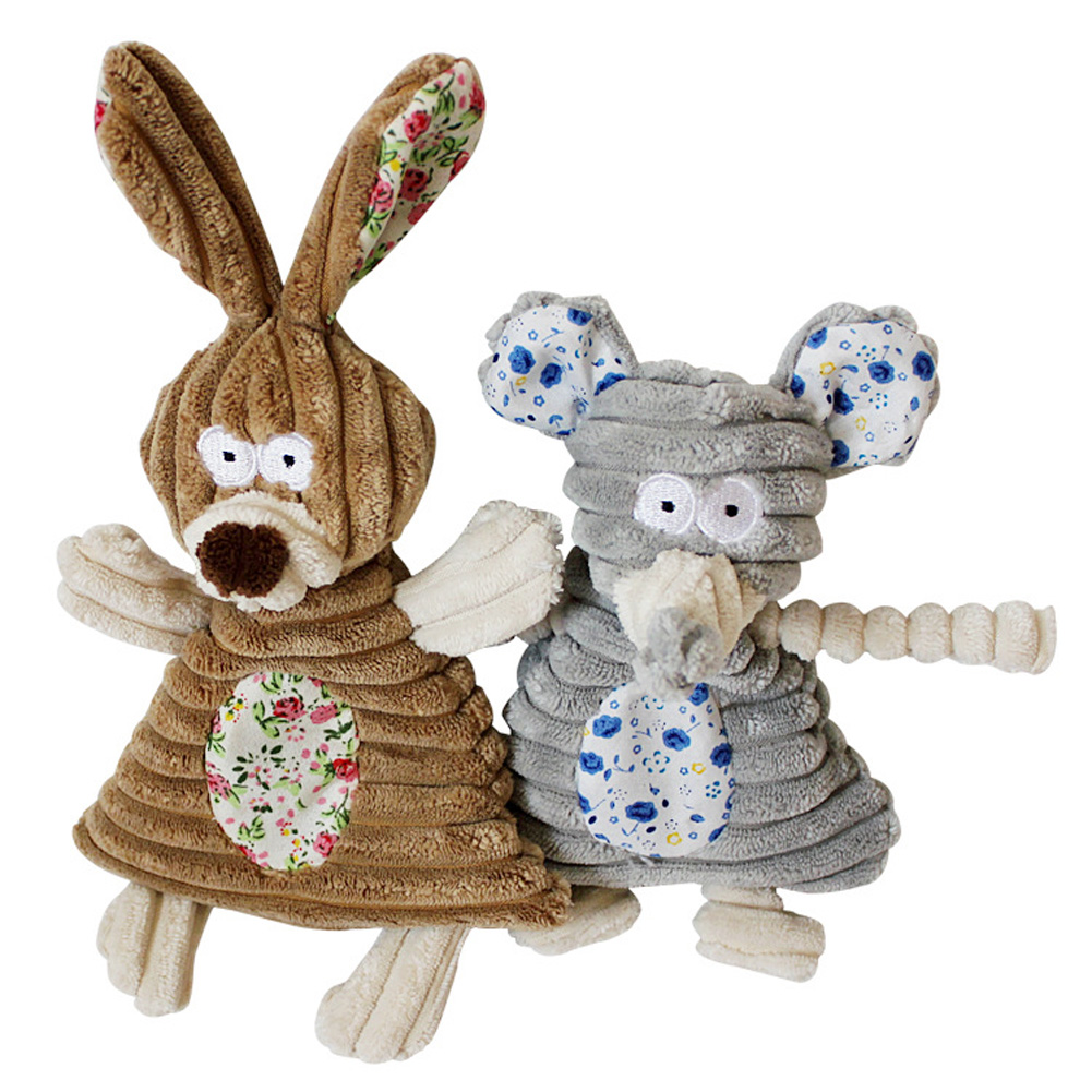Hondenspeelgoed Katachtigen Puppy Chew Squeaker Fun Squeak Toy Pluche Sound Cute Rabbit Elephant Gevulde hond Piepende Toy Dierbenodigdheden