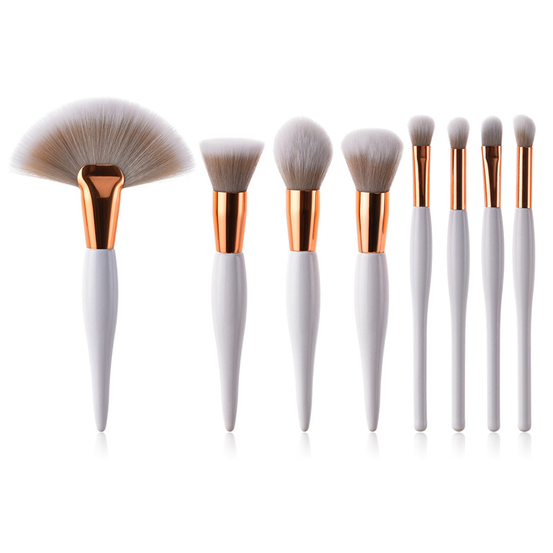 8Pcs Professional Makeup Brushes Set Powder Blush Foundation Eyeshadow Make Up Brushes Fan Cosmetic Brush Set 11pcs make up foundation eyebrow eyeliner blush cosmetic concealer synthetic hair brushes orange makeup brushes set professional