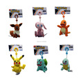 Free Shipping 6 Style Poke Doll Pikachu Eevee Charmander Mew Squirtle Bulbasaur Keychain Plush Doll Stuffed Toy 3.5-4""