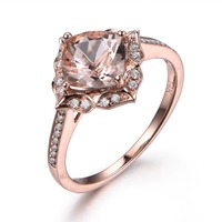 MYRAY 14k Rose Gold 6.5mm Cushion Cut Natural Pink Morganite Ring Flower Floral Vintage Halo Engagement Rings Diamond Wedding