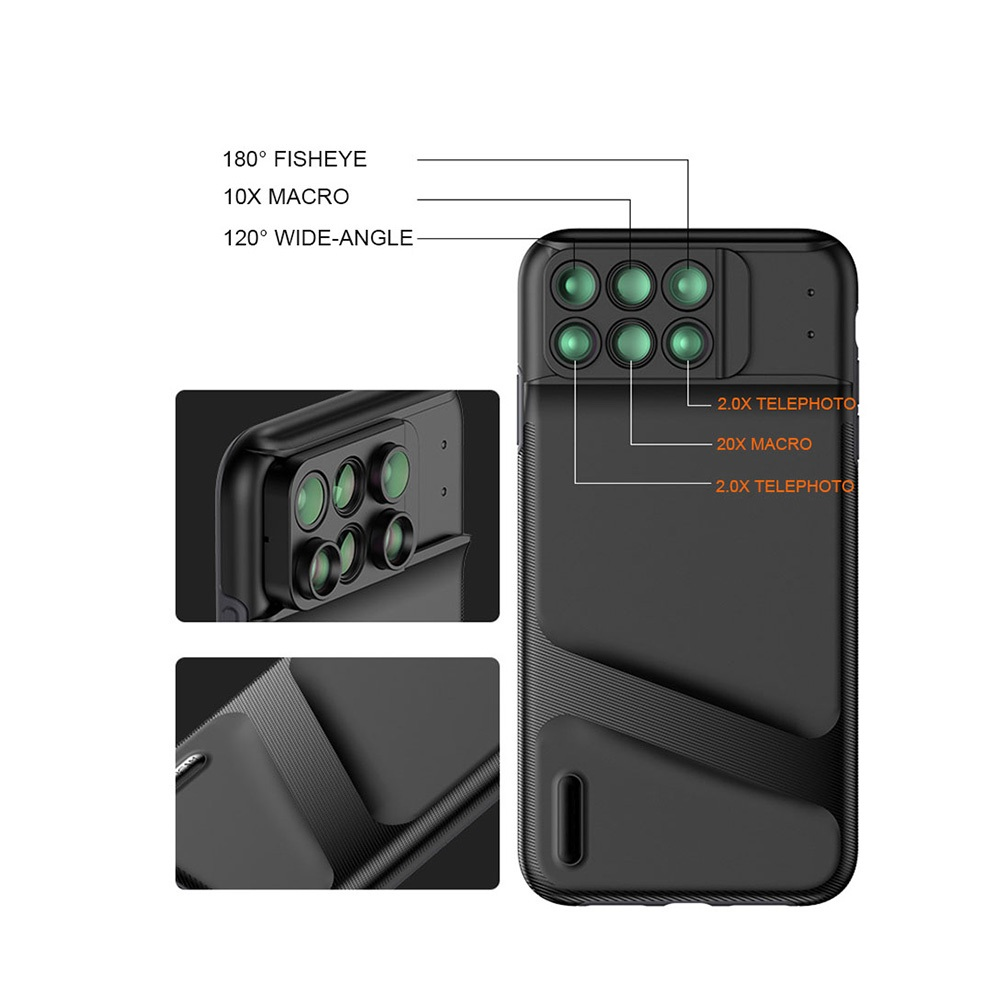 Camera Lens Phone Case for iPhone XS Max XR Fish eye Wide Angle Macro Lens Phone Cover Mobile Phone Lens Case Full Coverage