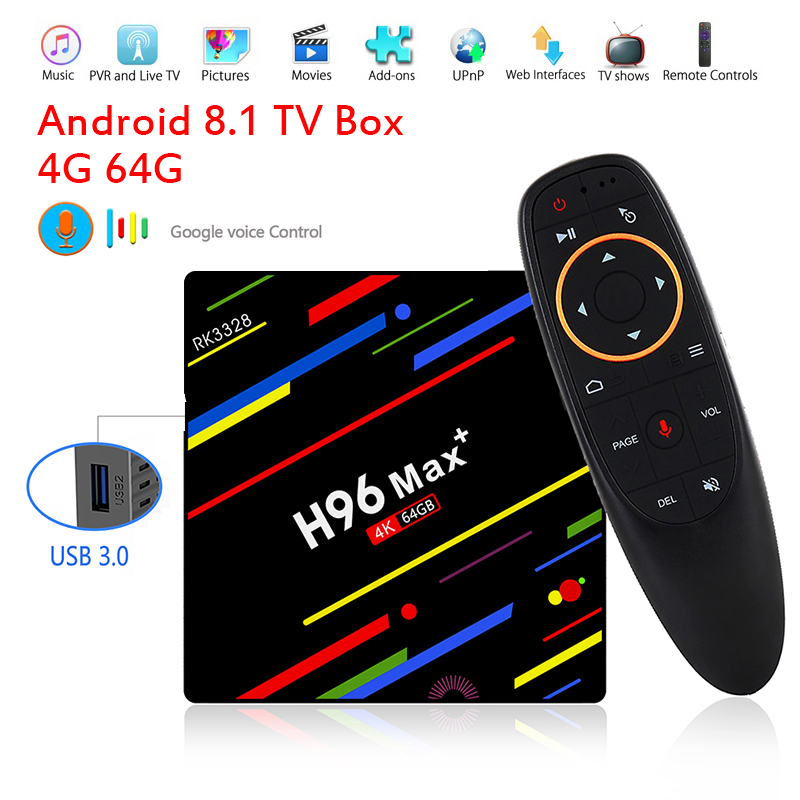 H96 MAX plus. Android 8.1 TV Box WiFi 2.4g Controllo Vocale Intelligente 4g 32g 4g 64g RK3328 Quad Core 4 k HD TV Box IPTV Abbonamento M3U