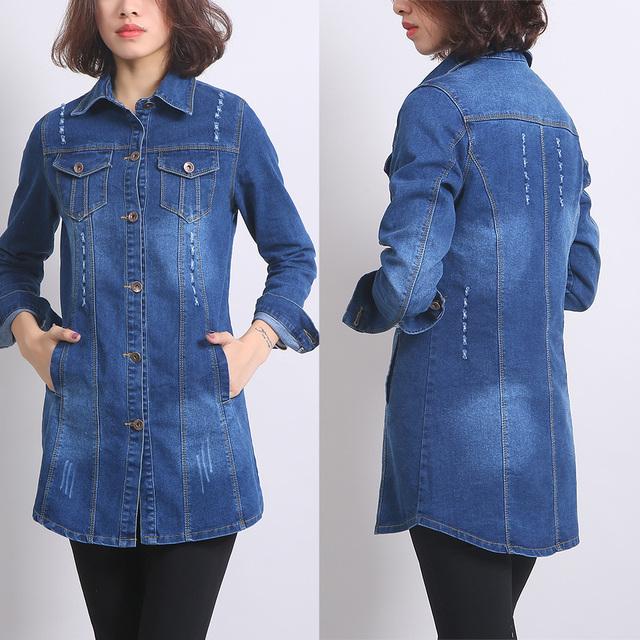 Moda 2016 Otoño Nueva Loose Jeans Denim Maxi Chaqueta para Mujeres Casual Manga Completo Solo Pecho Abrigo Delgado Más tamaño