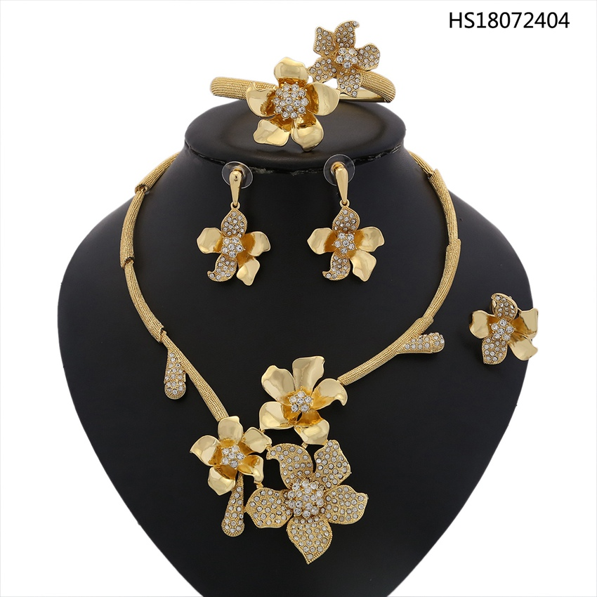 YULAILI Dubai Gold Color African Beads Jewelry Set for Women Wedding Bridal Imitation Rhinestone Flower Jewellery Accessories sweet beads rhinestone flower colored bracelet for women