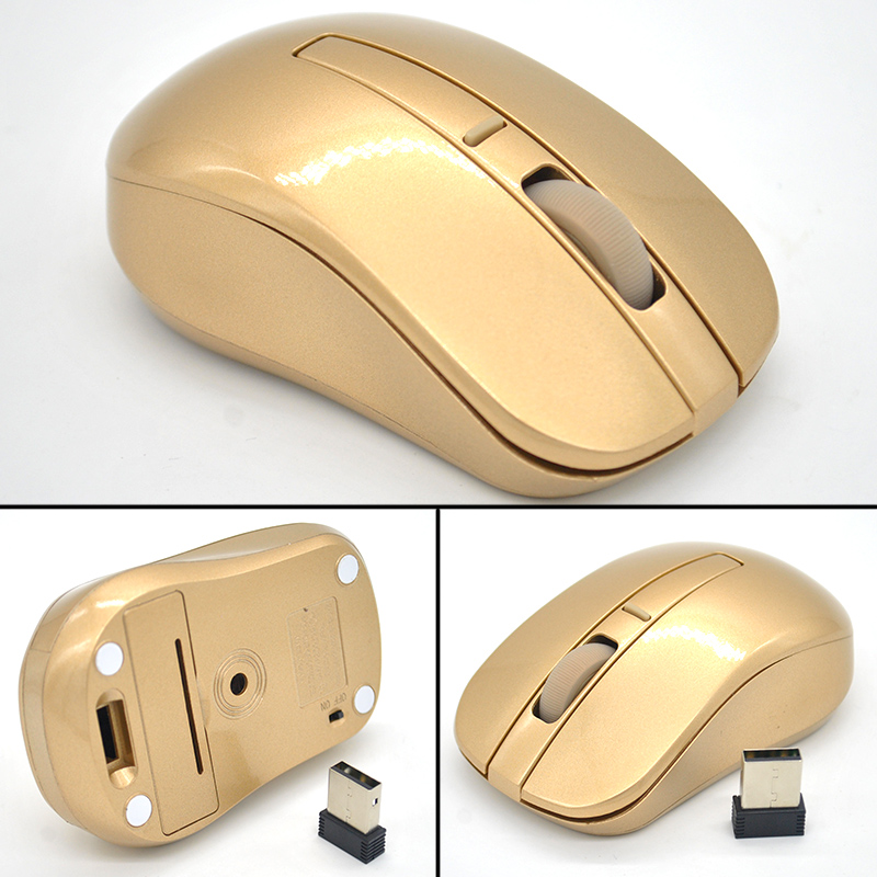 2940ee6b68b 2018 Hot Sale Super Cool 2.4GHZ Gold Wireless Mouse Wifi Gaming ...
