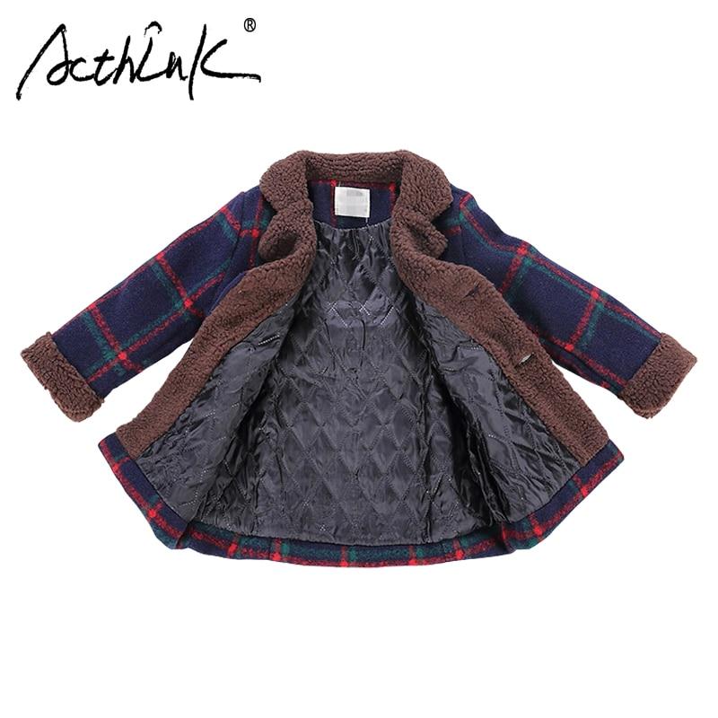 ActhInK New Baby Boys Winter Woolen Jacket Children Fleece Coat for Boys Kids Plaid Long Wool Blends Boys Winter Outerwear Coat