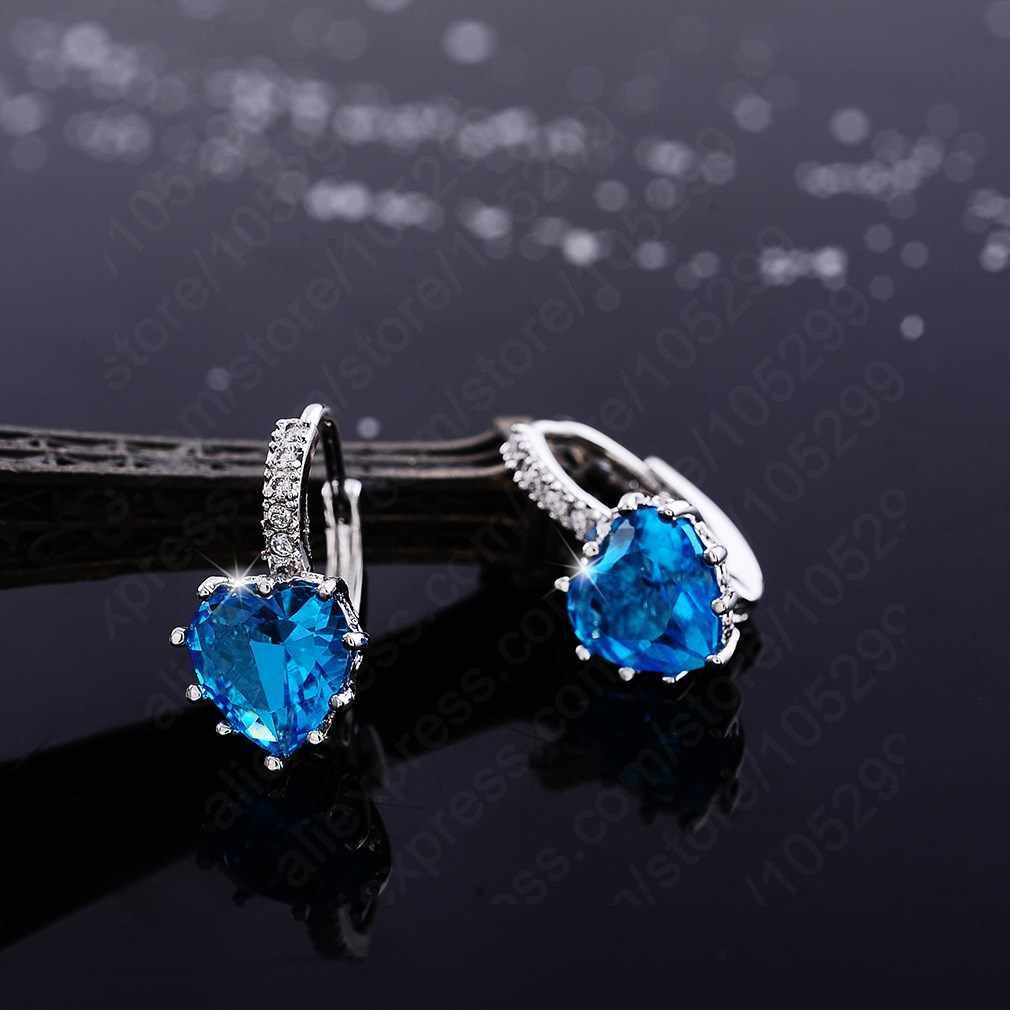Di lusso Colorful Cuore Banda Reale Puro 925 Sterling Silver Jewelry Cubic Zirconia Orecchini di Pietra Donne di Modo Preferiti