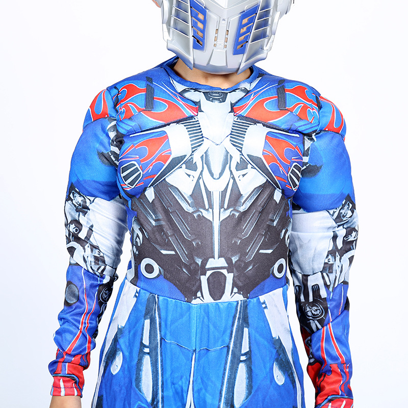 Image 5 - Optimus Prime Bumble Muscle Jumpsuits+ Mask Halloween Costume for Kids Boys Girl The Transformers Movies Carnival Disfraz Mujer