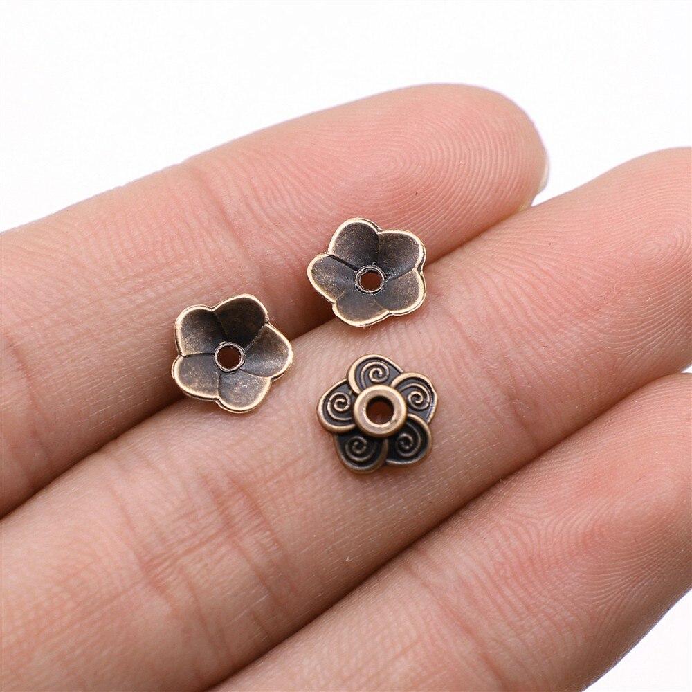 8x4MM Floral Bead Cap Antique Silver Tone Zinc Alloy 30 Pcs Bulk Lot Options 62816-2332