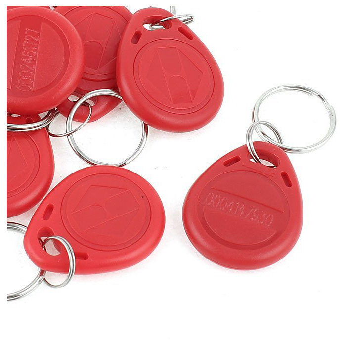 5 Packs 10 X 125 KHz RFID Keyboard Control Door Key Holder Red Card Identification