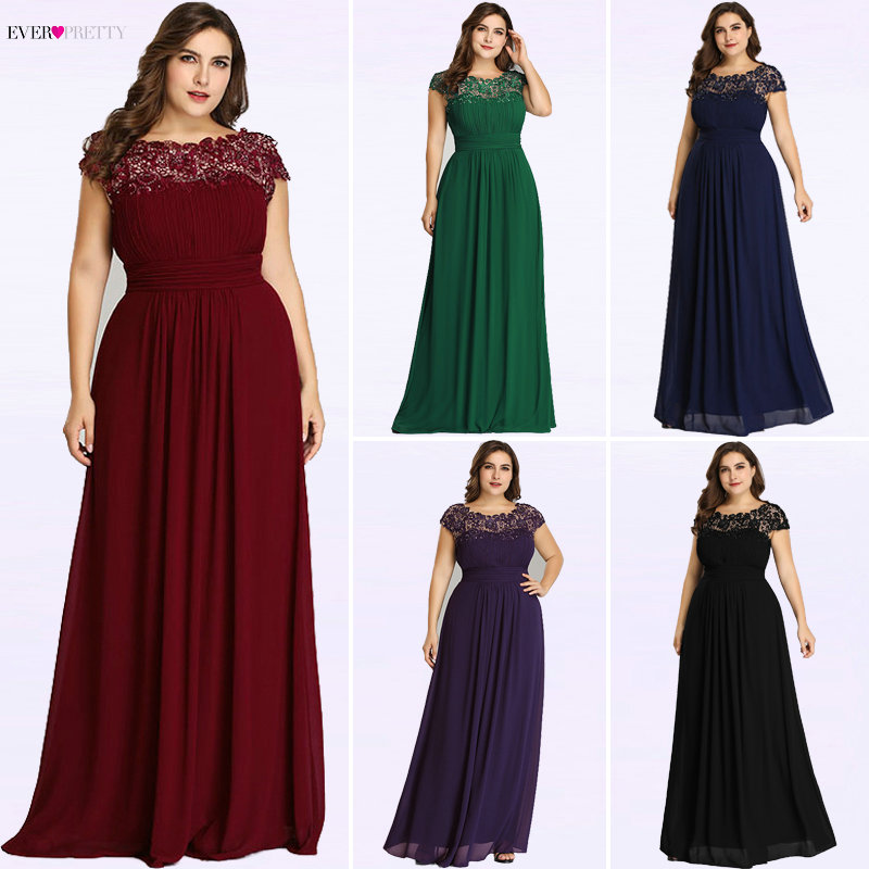 Long   Evening     Dresses   Ever Pretty 2018 New Simple Dark Green Chiffon Plus Size O-Neck Appliques Lace A-Line Formal Party   Dress