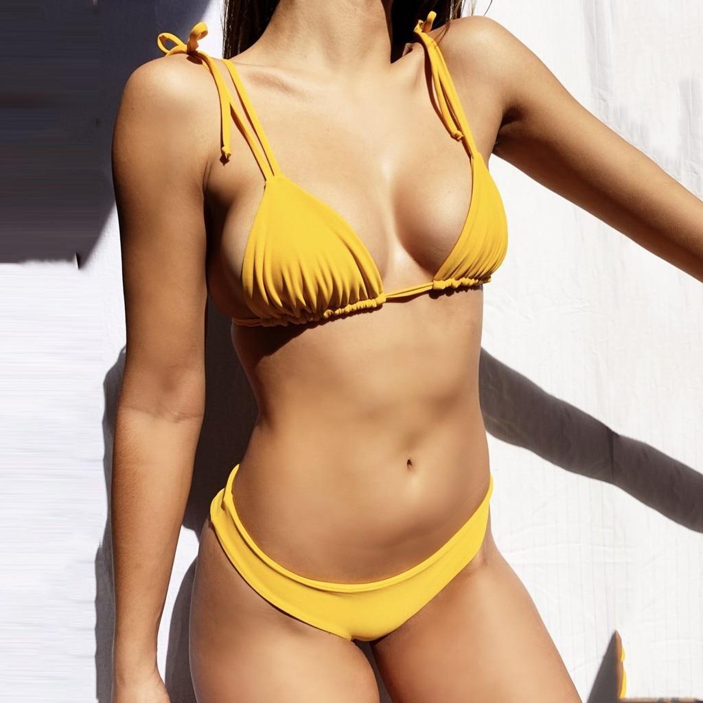 Женский сексуальный купальник из двух частей желтый однотонный бандажный