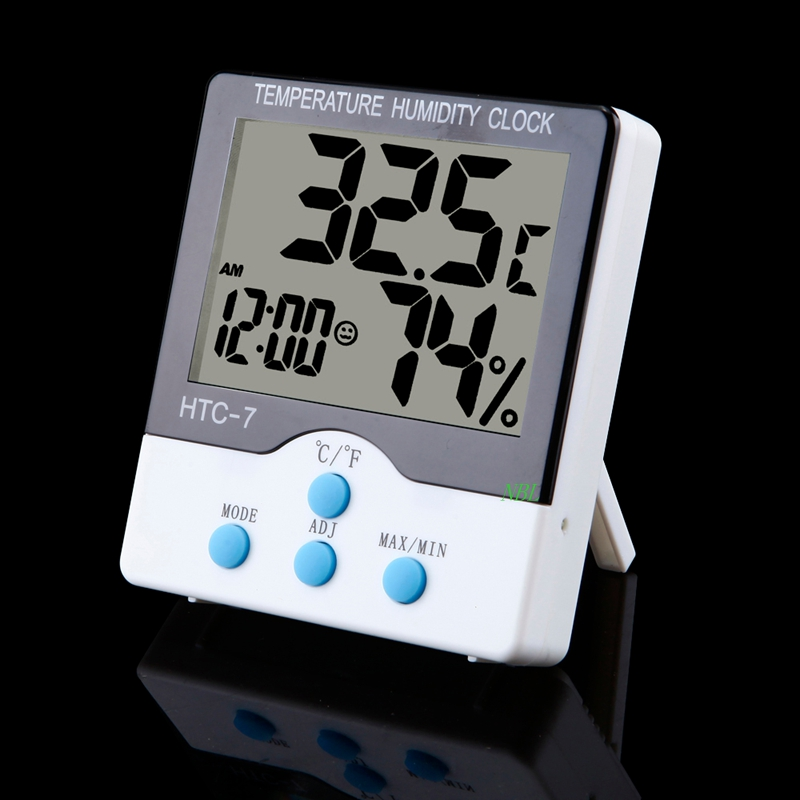 Digital Indoor Temperature Humidity Clock Big LCD Electronic Thermometer Hydrometer Meter And Stand HTC-7 Daily Alarm C/F Switch