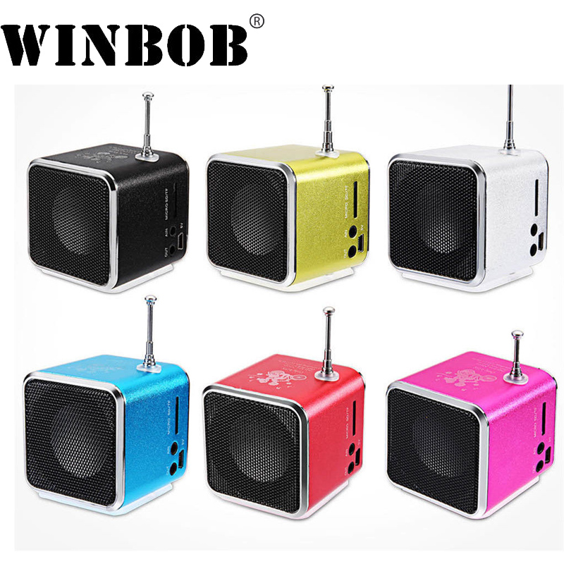 WINBOB TD-V26 Aluminium Digita linternet radio FM receiver SD TF USB Play Stereo Altavoz mini Speaker portable FM radio V26RDH td v26 portable speaker mini fm radio receiver mp3 music player lcd soundbar micro sd tf music stereo loudspeaker for laptop