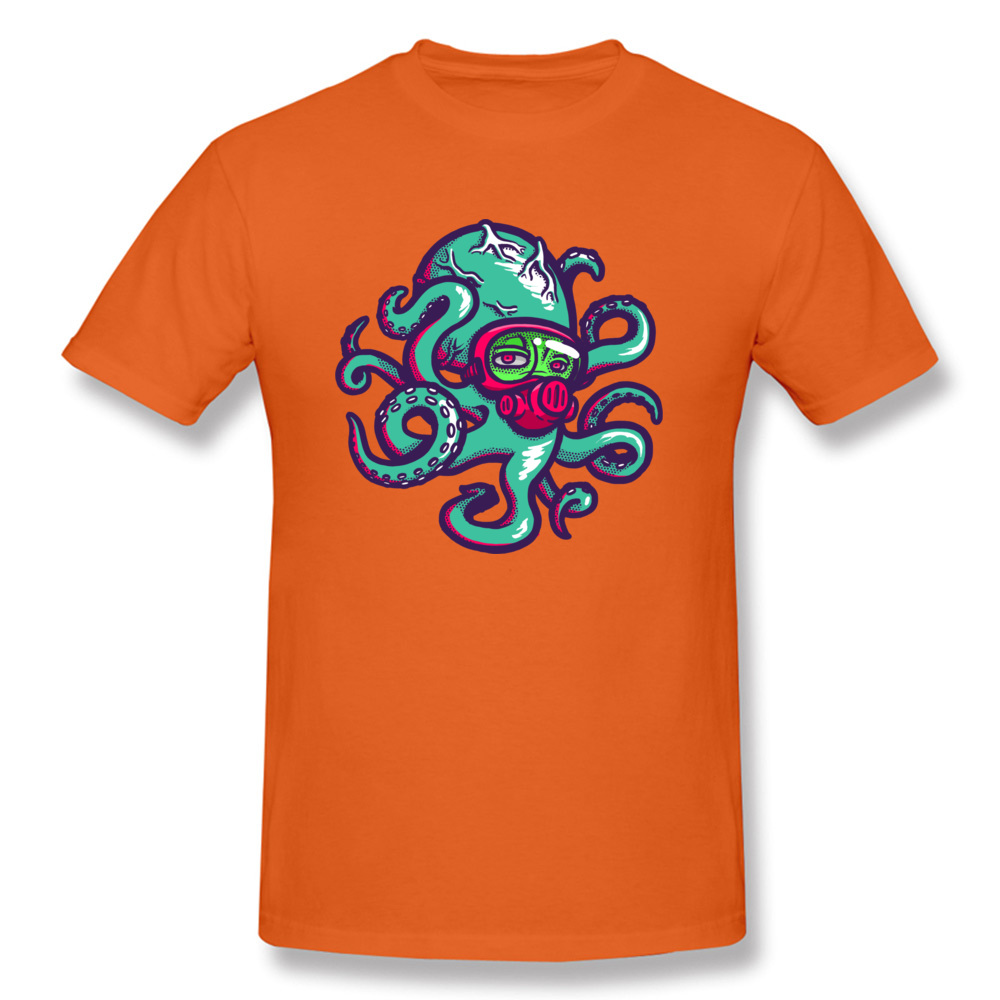 Camisa Nima the Octopus Tshirts Prevailing Autumn Short Sleeve Round Collar Tops Shirt Cotton Adult Classic Tee Shirts Nima the Octopus orange