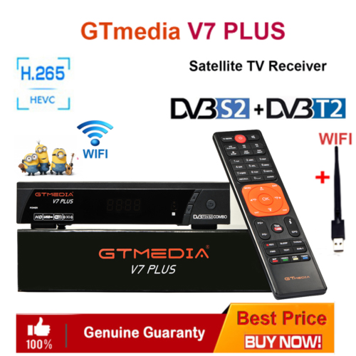 GTMedia V7 Plus Satellite Receiver DVB-S2 DVB-T2 H.265 Built-in WiFi With 1 Year Spain Europe Cccam Upgrade V7 Hd V7s Hd TV Box