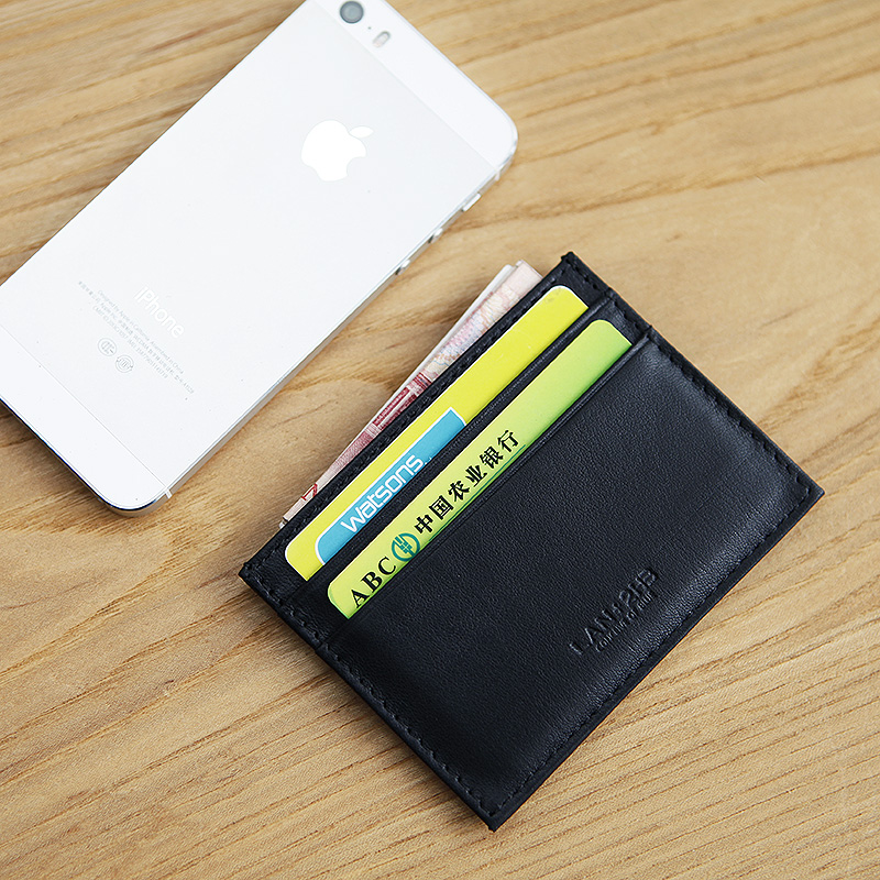 LAN 100% Leather mens credit card case slim bank card case credit Card Holder hot sale ID card holder fashion travel case