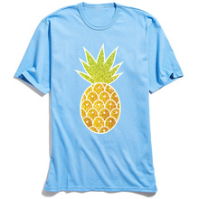 New Arrival Men T-shirts Pretty Glitter Tropical Pineapple Drawing T Shirt NEW YEAR DAY Pure Cotton Tops Short Sleeve Tshirt