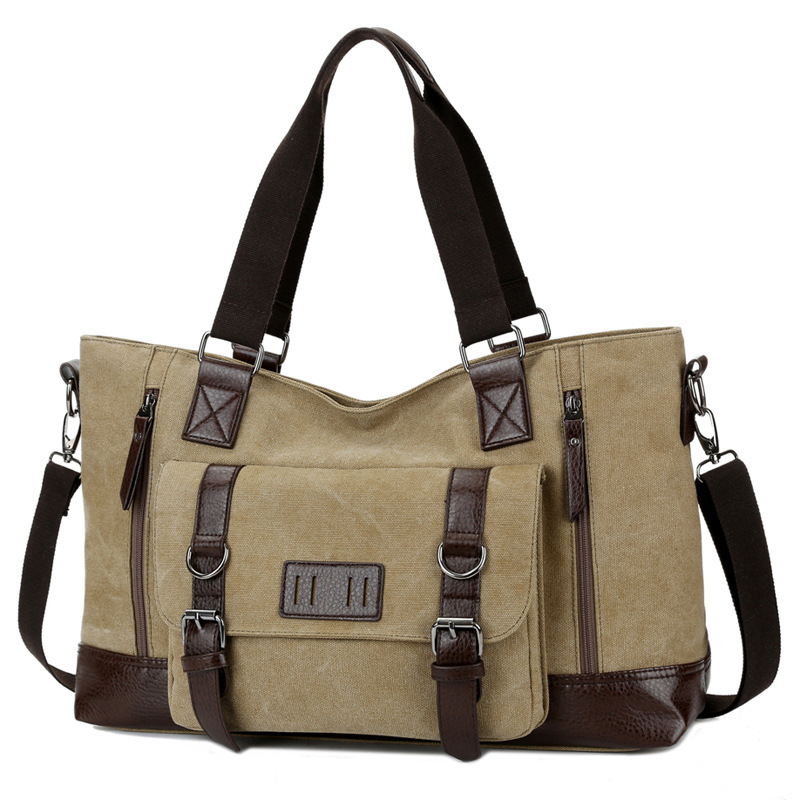 2019 New Canvas läder Crossbody Bag Men Messenger Väskor Herr Axelväska Mode Casual Travel Väskor Brand Business Handväskor