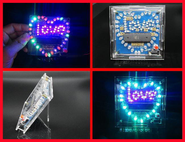 DIY colorful glare 51 MCU heart-shaped light water LED lamp lights love electronic kit with LOVE send program дополнительная фара gofl glare of light gl lwl 10wr 3310