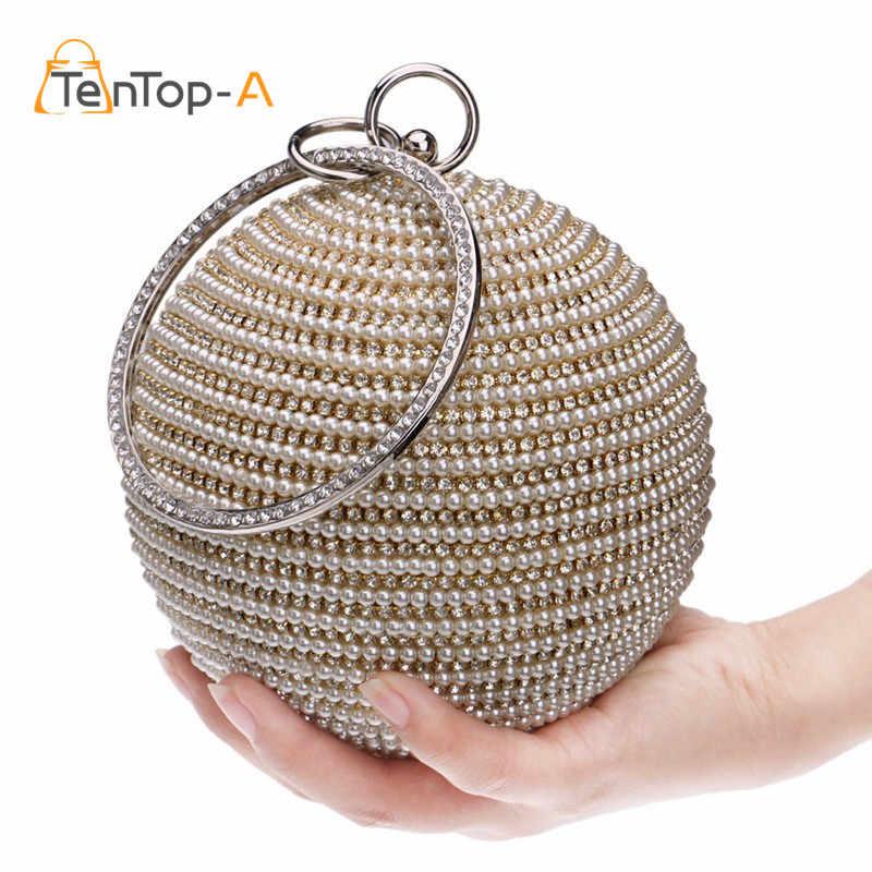 Free Shipping Women s Pearl Evening Bag Round Ball Pearl Beaded Clutch Purse  Mini Handbags Full Pearl 4766221202f2