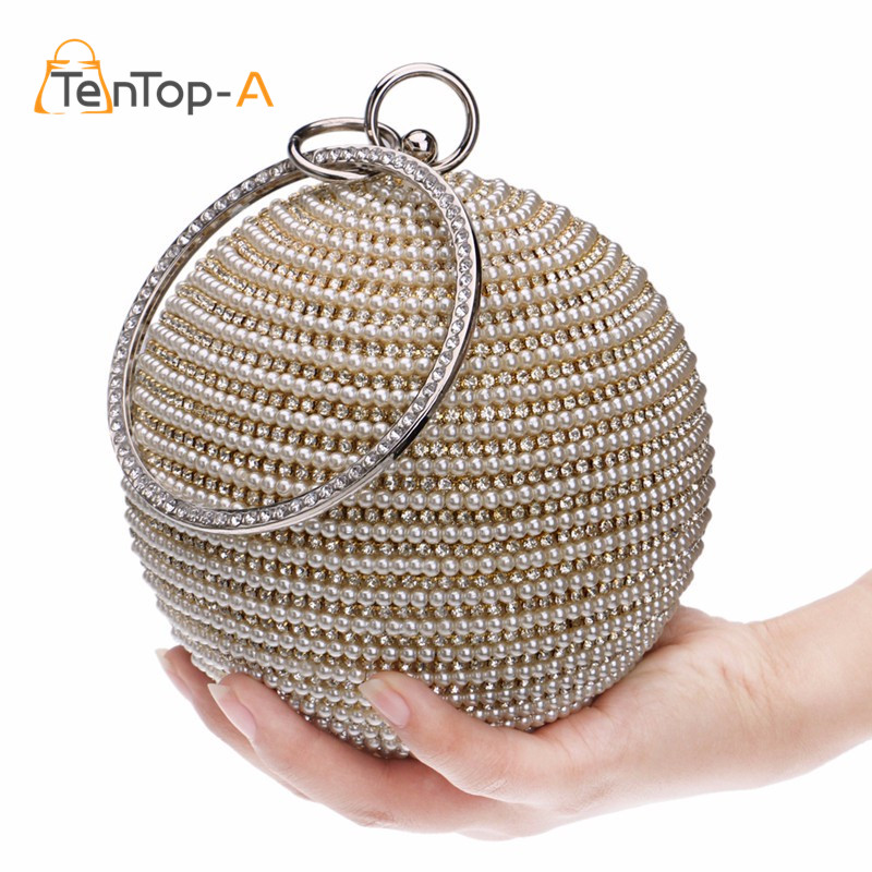 Free Shipping Women's Pearl Evening Bag Round Ball Pearl ...