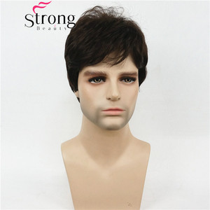 Image 2 - StrongBeauty Dark Brown Wig Mens Short Synthetic Hair Wigs COLOUR CHOICES