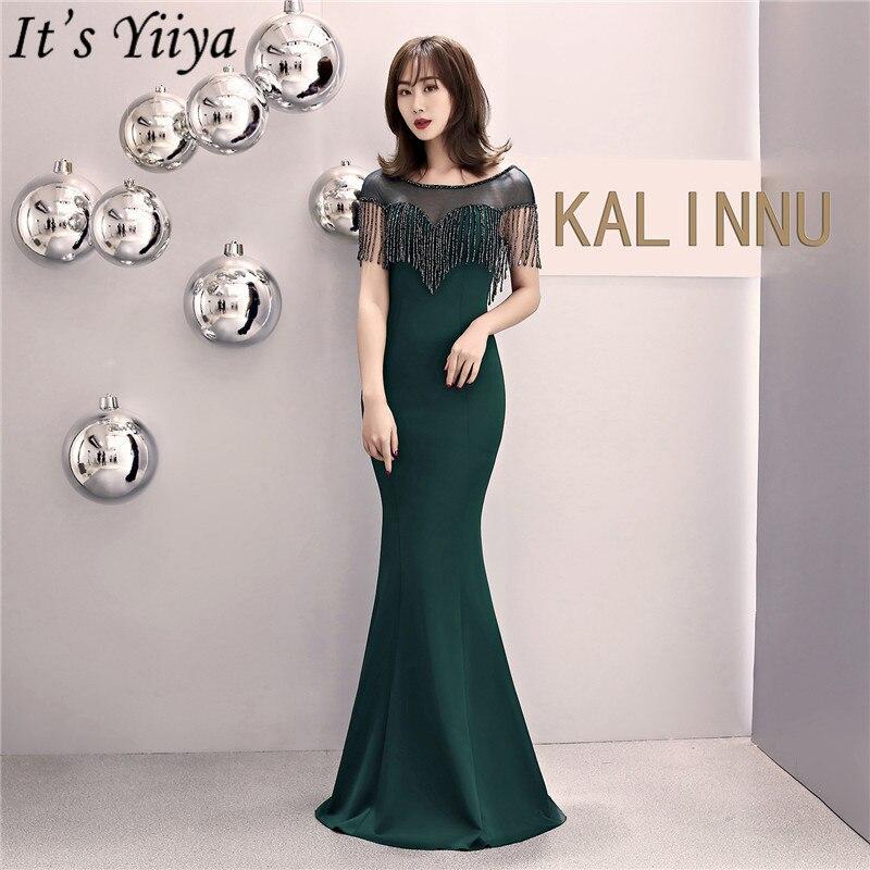 It's Yiiya Tassel Evening Dress Zipper Back Short Sleeve Long Party Gowns O-neck Hand-making Mermaid Formal Prom Dresses C084