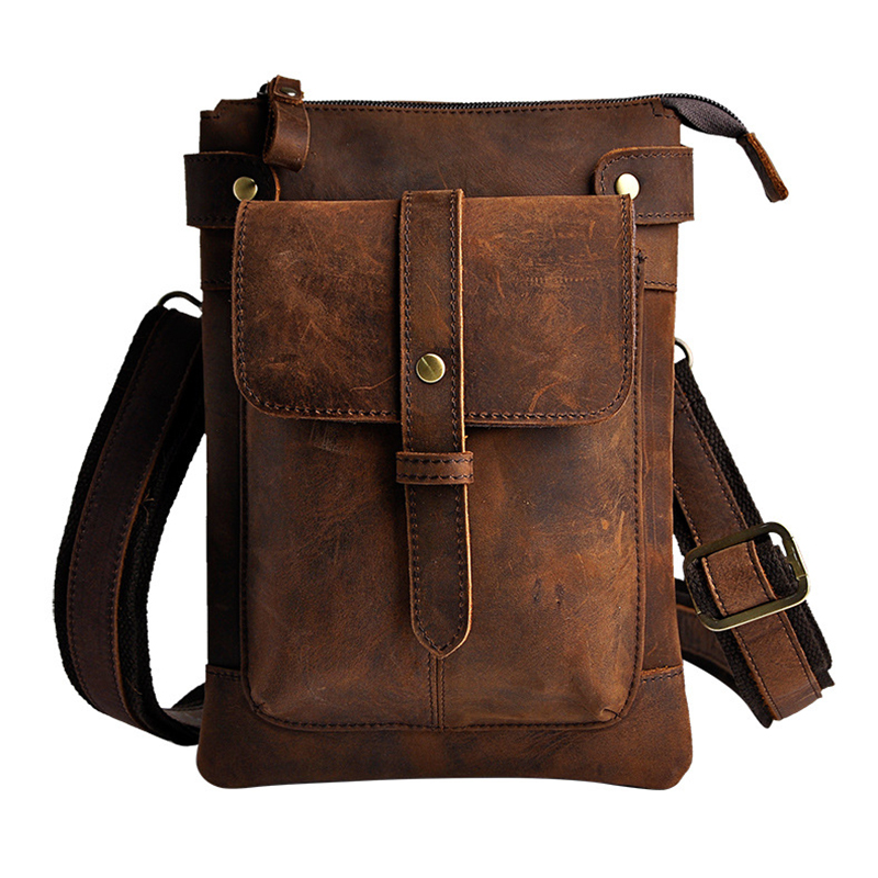 2018 Genuine Leather Waist bags For Men Leg Bag Oil Wax Travel Colorful Fanny Pack Man Belt Bags Brown Purses Phone Pouch