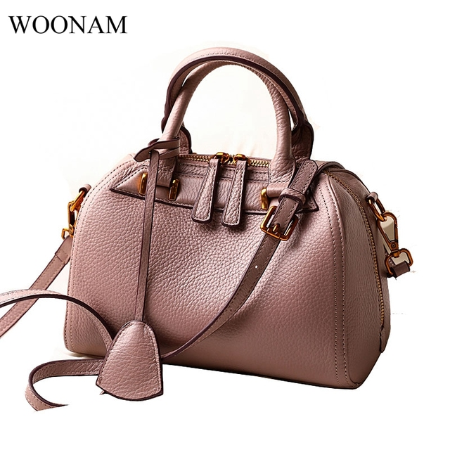 c01ab6e5a56f WOONAM Women Fashion Top Grained Calf Leather Small Top Handle Boston  Shoulder Bag with Long Shoulder Strap WB322