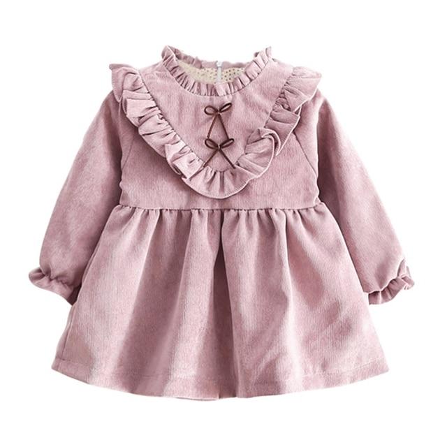 Демисезонный маленьких Обувь для девочек теплое платье с длинными рукавами Корейская версия одноцветное Цвет V в форме гриба платье пункт Детское платье J2