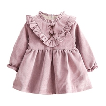 Spring Autumn Baby Girls Warm Dress Long Sleeve Korean Version Solid Color V shaped Fungus Dress