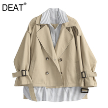 DEAT 2019 New Spring Summer Lapel Long Sleeve Black Khaki Striped Split Joint Big Size Jacket Women Coat Fashion Tide JS248