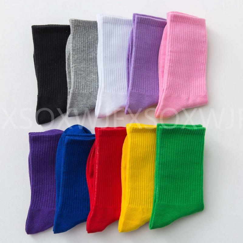 New Solid Color Cotton Socks Personality Harajuku Candy Color Couple Skateboard Socks Casual Sports Men's Socks