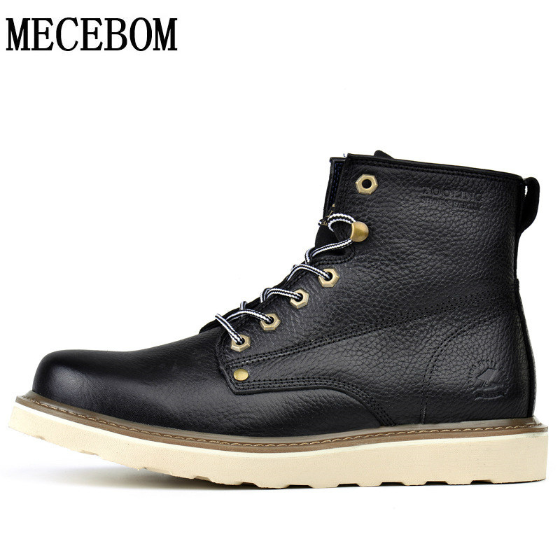 ФОТО Men's genuine leather tooling boots fashion motocycle boots martin casual shoe autumn high quality flats Zapatos Hombre LA205M