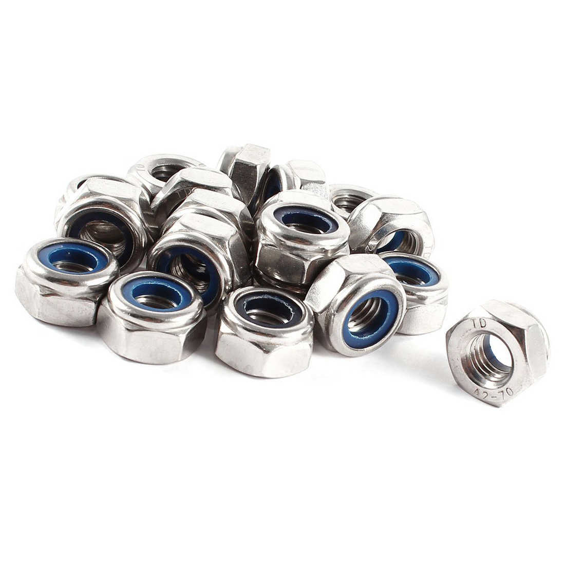 New 20 Pcs 304HC A2 70 Stainless Steel Hex Nylock Lock Nut M10 10mm
